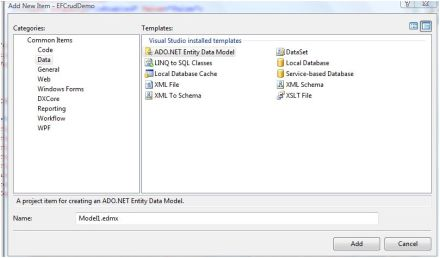 Adding new edmx file in visual studio 2008