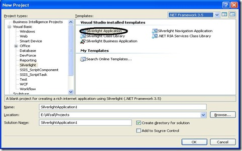 Silverlight Application new project